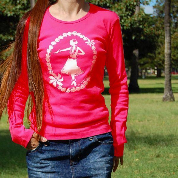 フラTシャツ(長袖) 【フラガール&ピカケレイ (Pink)】