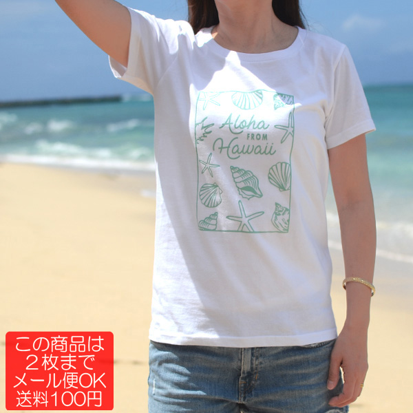 画像1: 【Aloha Sea (White/Sea Blue)】半袖ハワイアンTシャツ