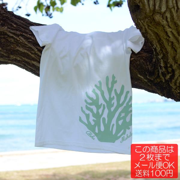 画像1: 【Aloha Coral  (White/Sea Blue)】半袖ハワイアンTシャツ