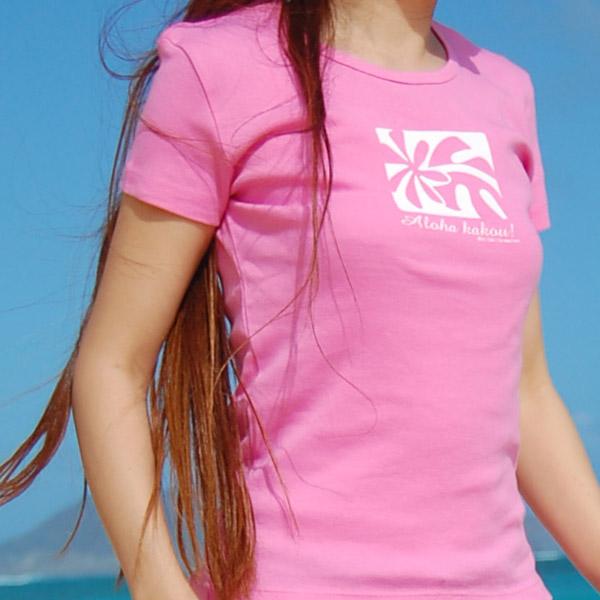 【モンステラ&ティアレ (Pink)】 フラTシャツ(半袖) 商品ナンバー(TS014)