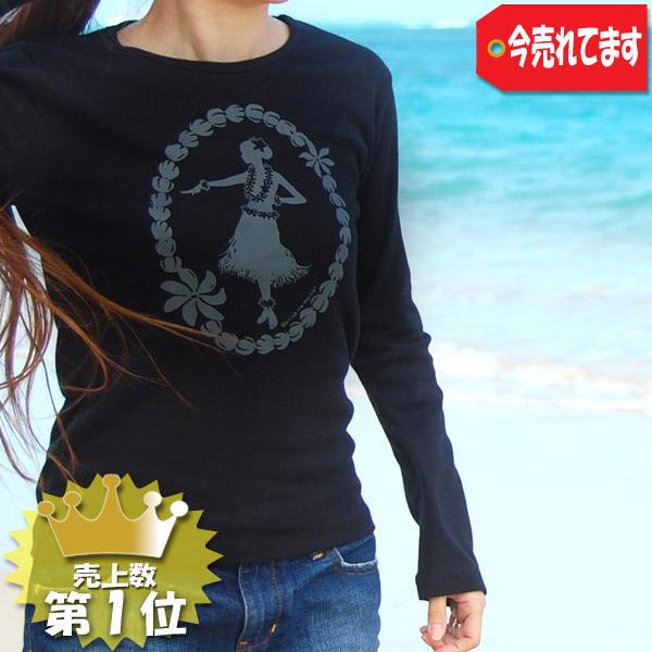 フラTシャツ(長袖) 【フラガール&ピカケレイ (Black)】