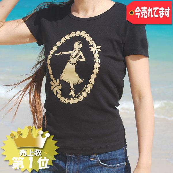 【フラガール&ピカケレイ (Black)】フラTシャツ(半袖)