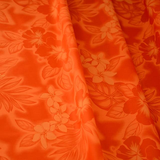画像2: パウスカート(オレンジ系/ハイビスカス・プルメリア柄)